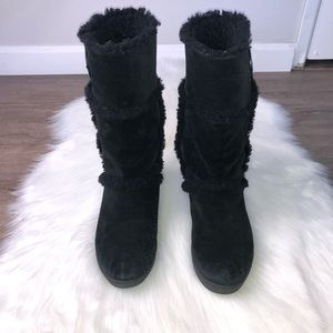 Tory Burch black Amelie suede fur boots size 7